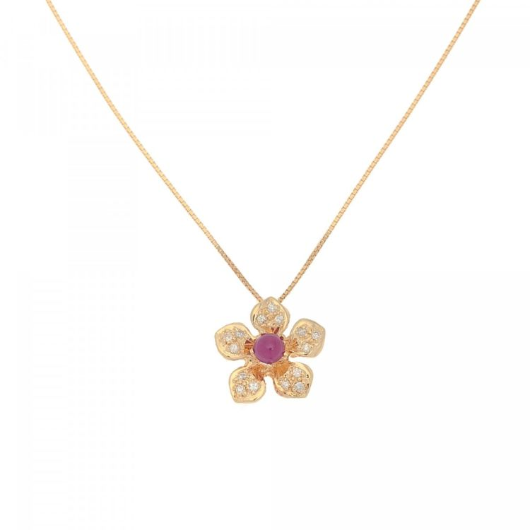 Estate jewelry ruby gold pendant necklace 405cm 18k gold lxrandco lxrandco guarantees this is an authentic vintage estate jewelry ruby gold pendant 40 5cm necklace this everyday pendant necklace in beautiful gold is made aloadofball Images