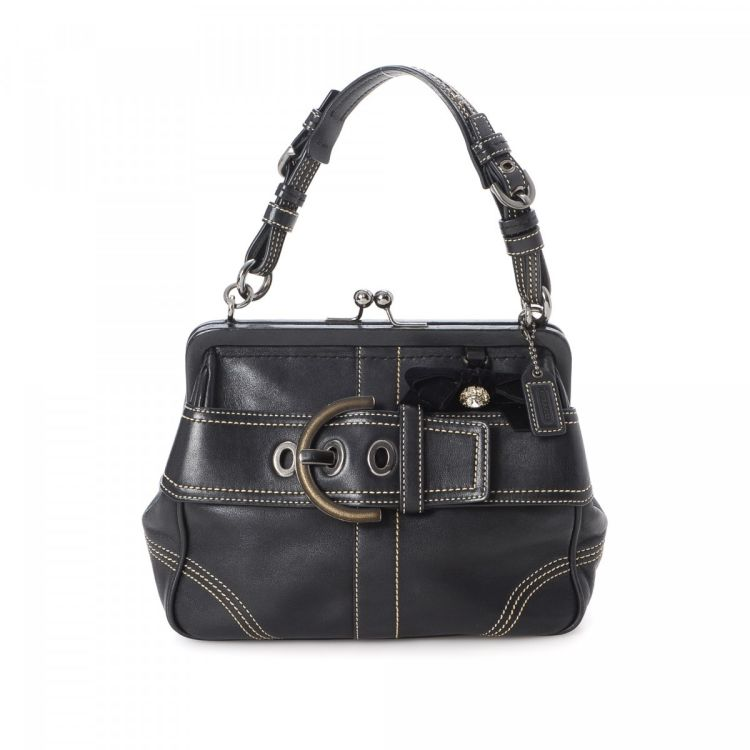 Coach Small Kisslock Frame Bag Leather - LXRandCo - Pre-Owned Luxury ...