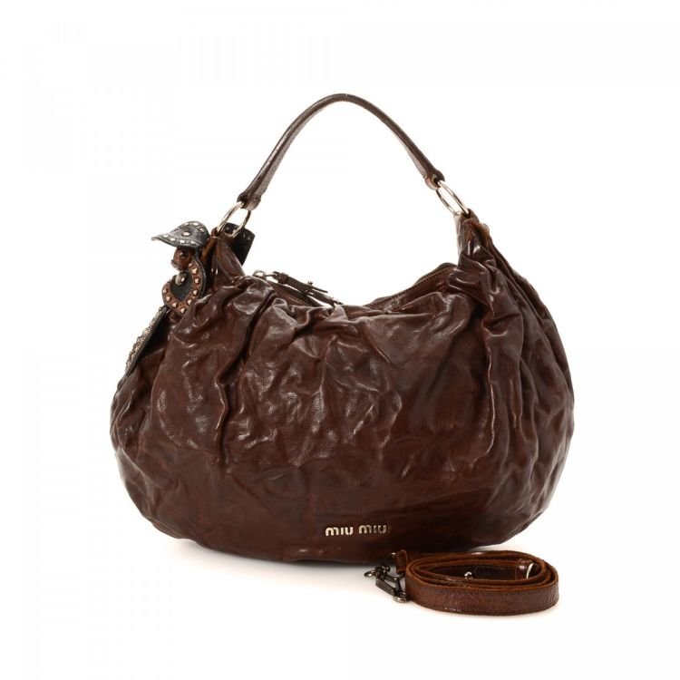 Lxrandco Guarantees This Is An Authentic Vintage Miu Washed Two Way Bag Handbag Crafted In Leather Elegant Comes Dark Brown