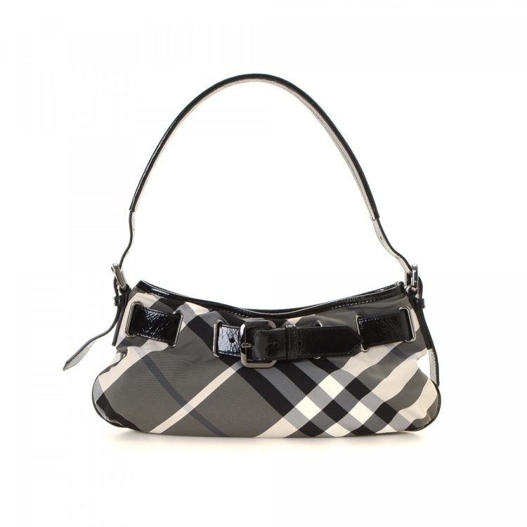 3f647f87096a LXRandCo guarantees this is an authentic vintage Burberry Beat Check shoulder  bag. This classic purse was crafted in canvas in beautiful grey.