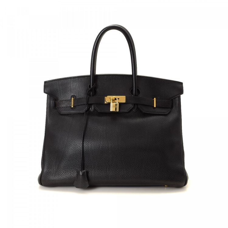 The authenticity of this vintage Hermès Birkin 35 Black Taurillon Clemence  GHW handbag is guaranteed by LXRandCo. Crafted in taurillon clemence calf d77283847f