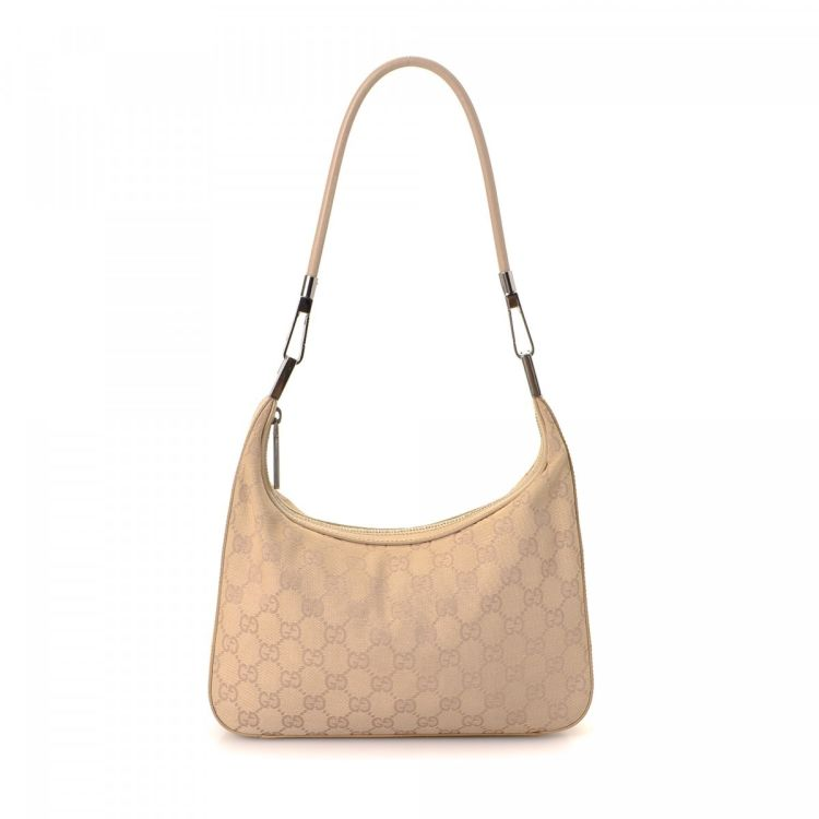 283883721de LXRandCo guarantees this is an authentic vintage Gucci Hobo Bag shoulder bag.  This chic bag was crafted in gg canvas in beautiful natural.