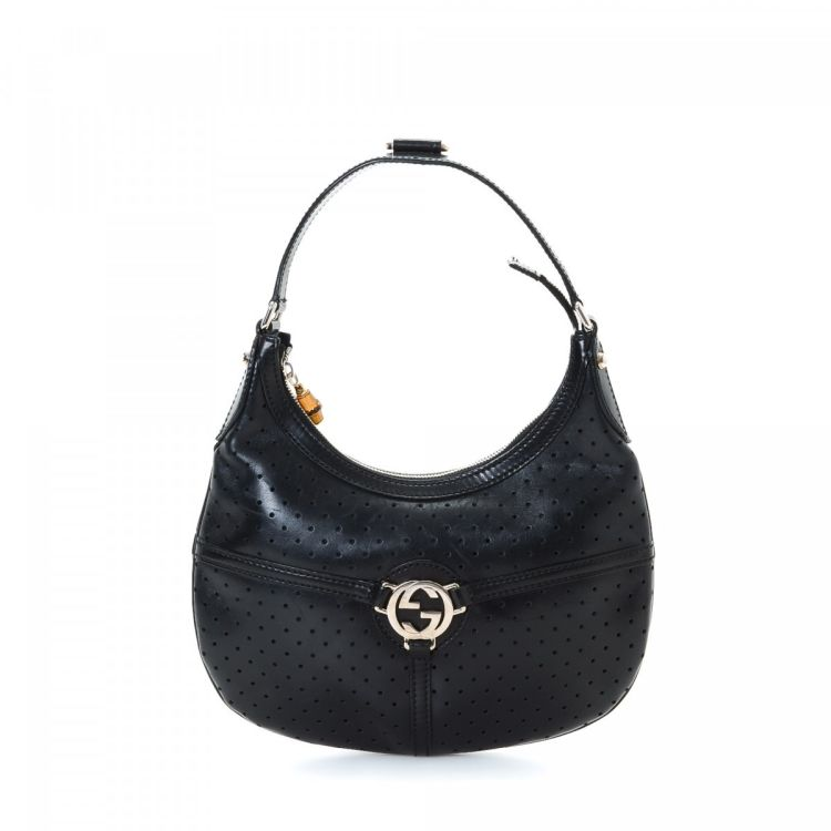 0f167ef9d6e LXRandCo guarantees this is an authentic vintage Gucci Reins Hobo Bag  handbag. This chic handbag was crafted in interlocking gg leather in black.