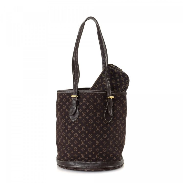 6ddcbceeb942 LXRandCo guarantees this is an authentic vintage Louis Vuitton Petit Bucket  tote. This signature bag was crafted in monogram mini canvas in beautiful  brown.