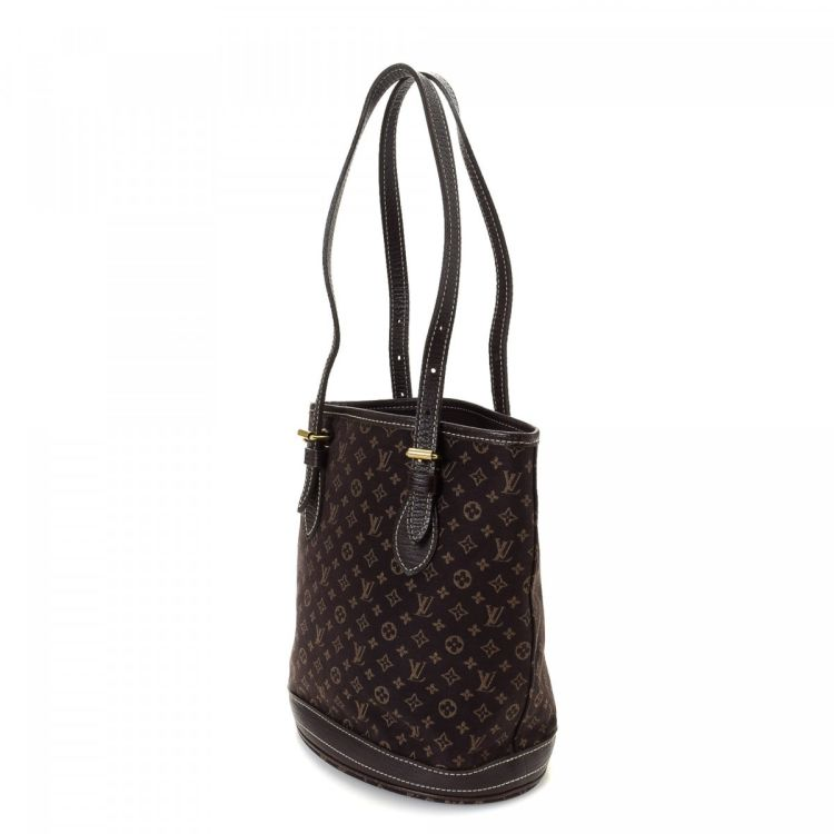 4349b1cb77b LXRandCo guarantees this is an authentic vintage Louis Vuitton Petit Bucket  tote. This signature bag was crafted in monogram mini canvas in beautiful  brown.