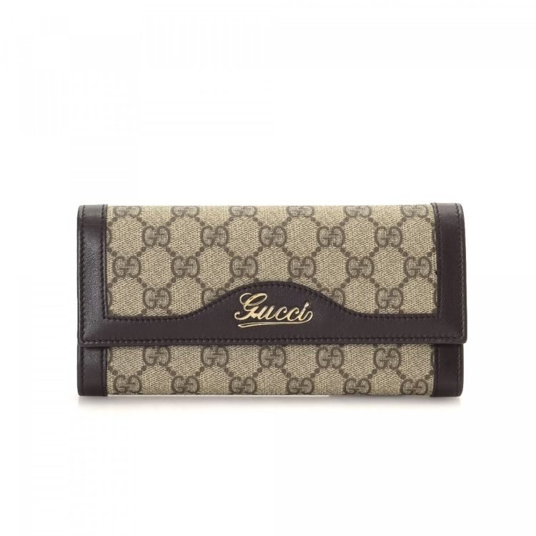 e95680b65b2761 Gucci Wallet GG Supreme Coated Canvas - LXRandCo - Pre-Owned Luxury ...