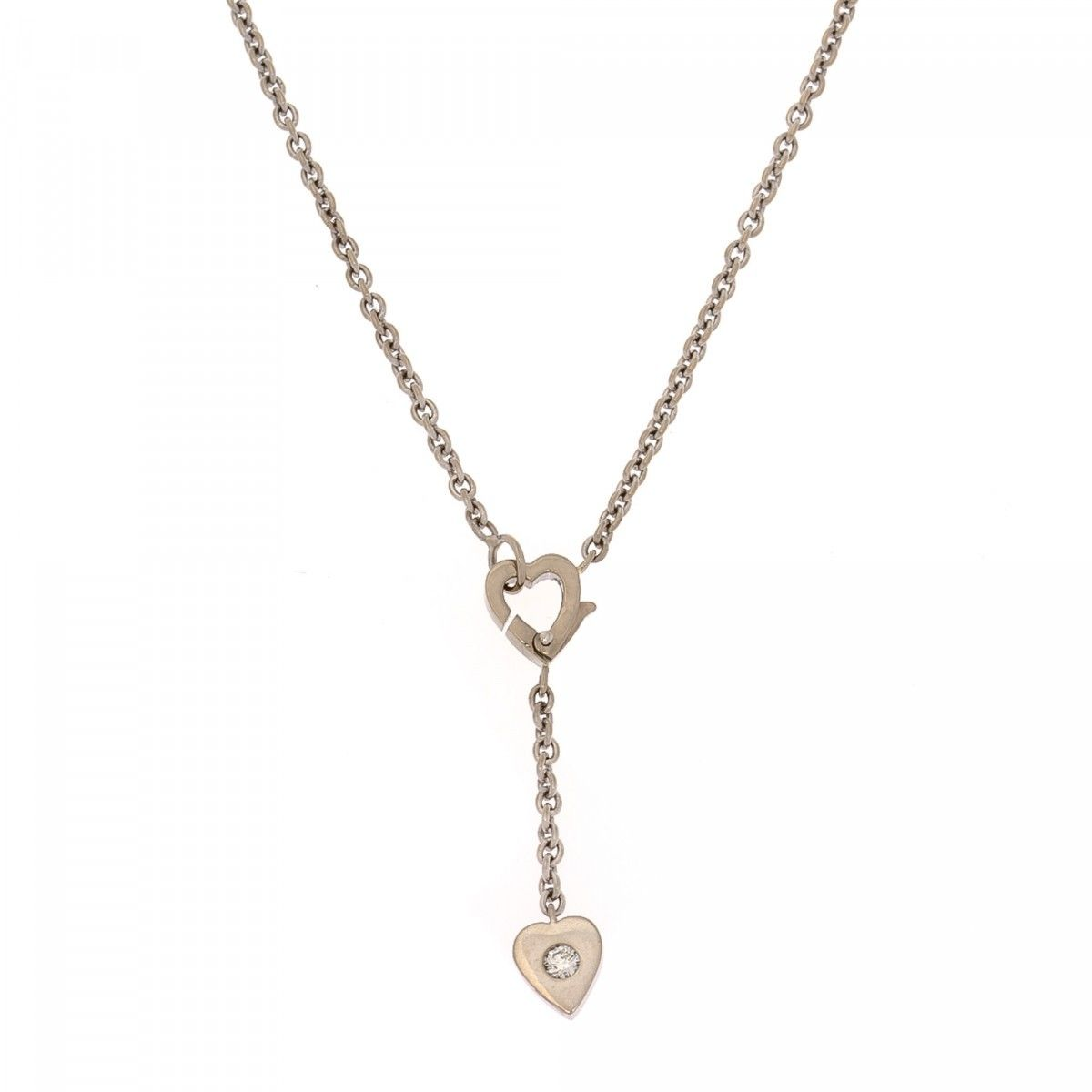 Cartier diamond heart necklace 43cm 18k white gold lxrandco cartier diamond heart necklace 43cm 18k white gold lxrandco pre owned luxury vintage mozeypictures Image collections