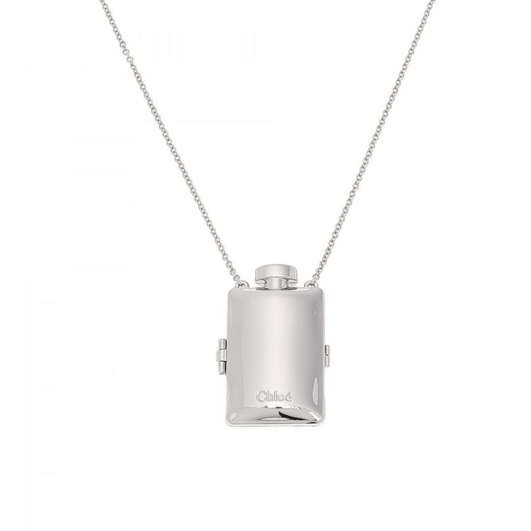 Chloé Ally Necklace And Solid Perfume Pendant 85cm Palladium Plated
