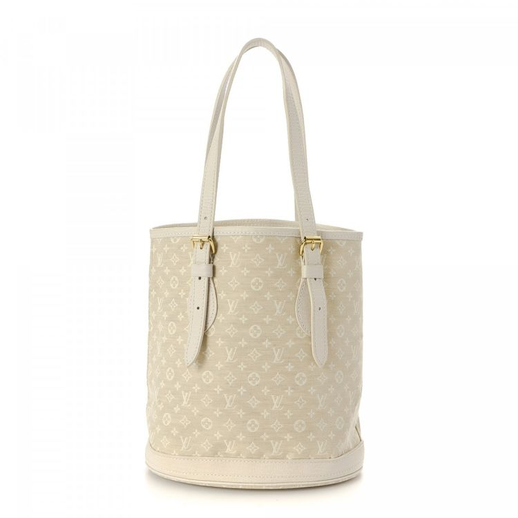 2aef8330fc46 LXRandCo guarantees the authenticity of this vintage Louis Vuitton Mini Lin Bucket  handbag. Crafted in monogram mini lin canvas