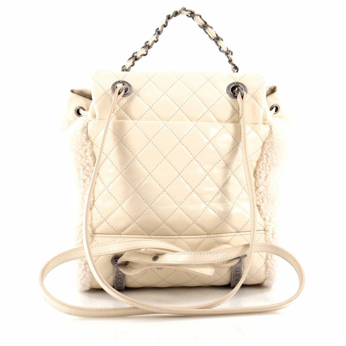Chanel Mountain Backpack Shearling with Quilted Calfskin Small ... 7c28325d711fe
