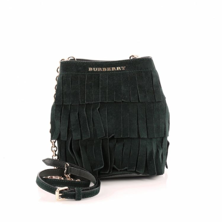e2171070d4bc Burberry Tiered Fringe Bucket Bag Suede Baby - LXRandCo - Pre-Owned ...