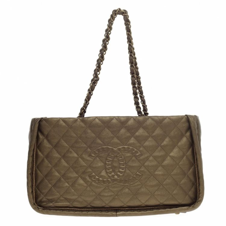Chanel Istanbul Tote Quilted Leather Small Metallic bronze Handbags
