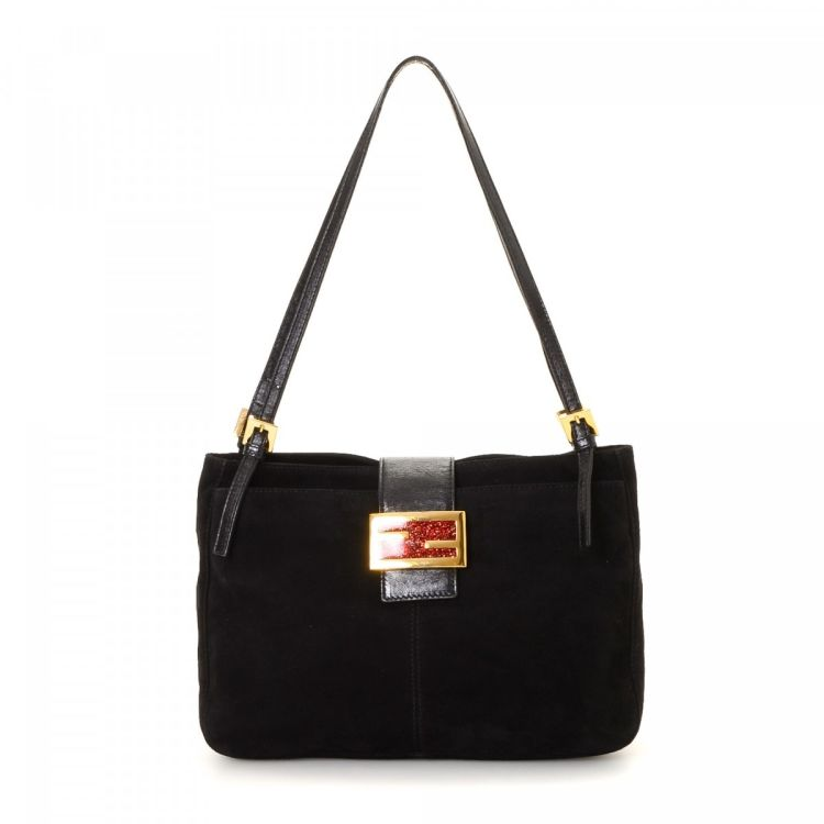 98728666bc The authenticity of this vintage Fendi shoulder bag is guaranteed by  LXRandCo. Crafted in suede