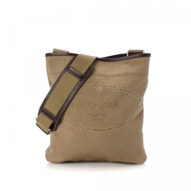a2e42f19e914 ... low price prada crossbody bag canapa canvas lxrandco pre owned luxury  vintage a54d0 86b3d