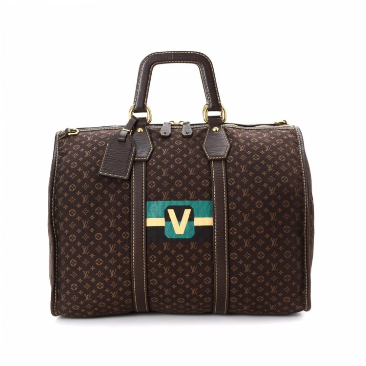 7656dc34a436 The authenticity of this vintage Louis Vuitton Initiales Keepall travel bag  is guaranteed by LXRandCo. This practical weekend bag was crafted in  monogram ...