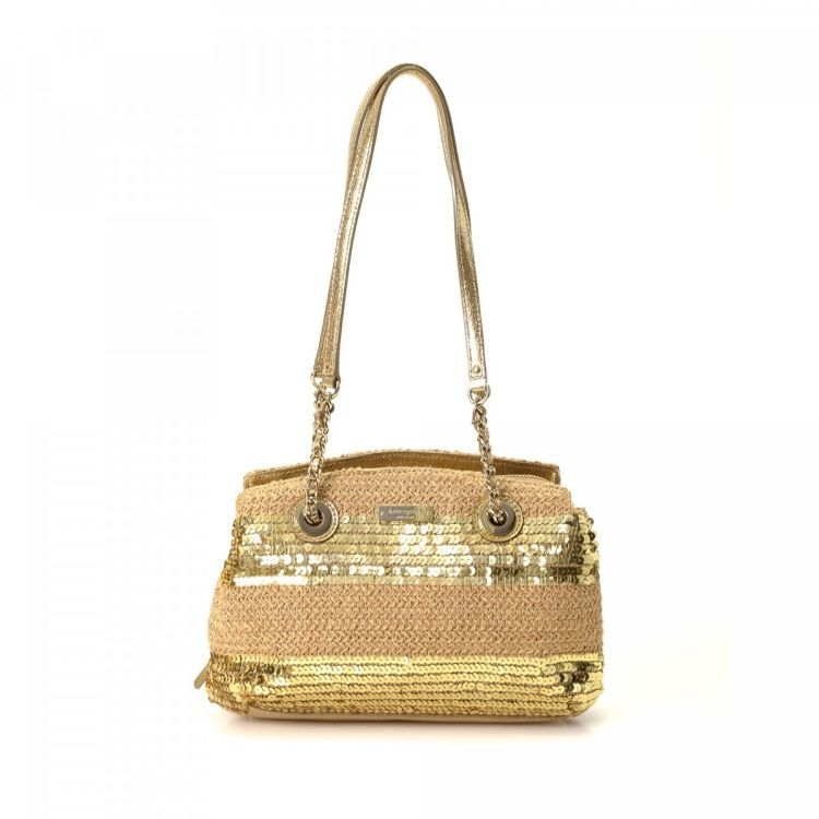 95af1c50cecb LXRandCo guarantees the authenticity of this vintage Kate Spade Sequin  shoulder bag. This iconic pocketbook was crafted in raffia in beige.