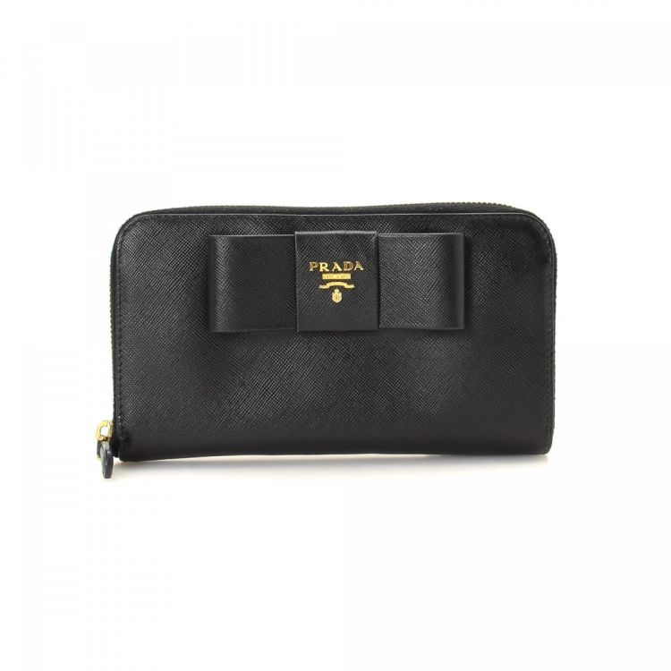 ab3506226675 Prada Saffiano Bow Zip Around Wallet Saffiano Leather - LXRandCo ...