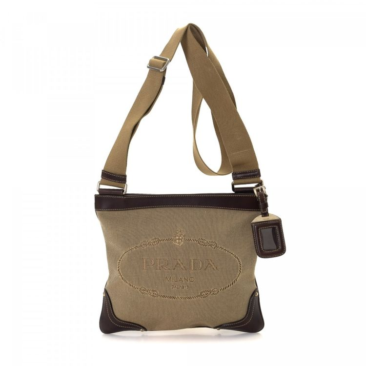 a3b4fee9c3ec LXRandCo guarantees this is an authentic vintage Prada Crossbody Bag  messenger   crossbody bag. This exquisite saddle bag was crafted in canvas  in brown.
