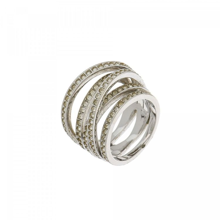 silver inlay stylish adjustable spiral ring rings bamboo zircon opening