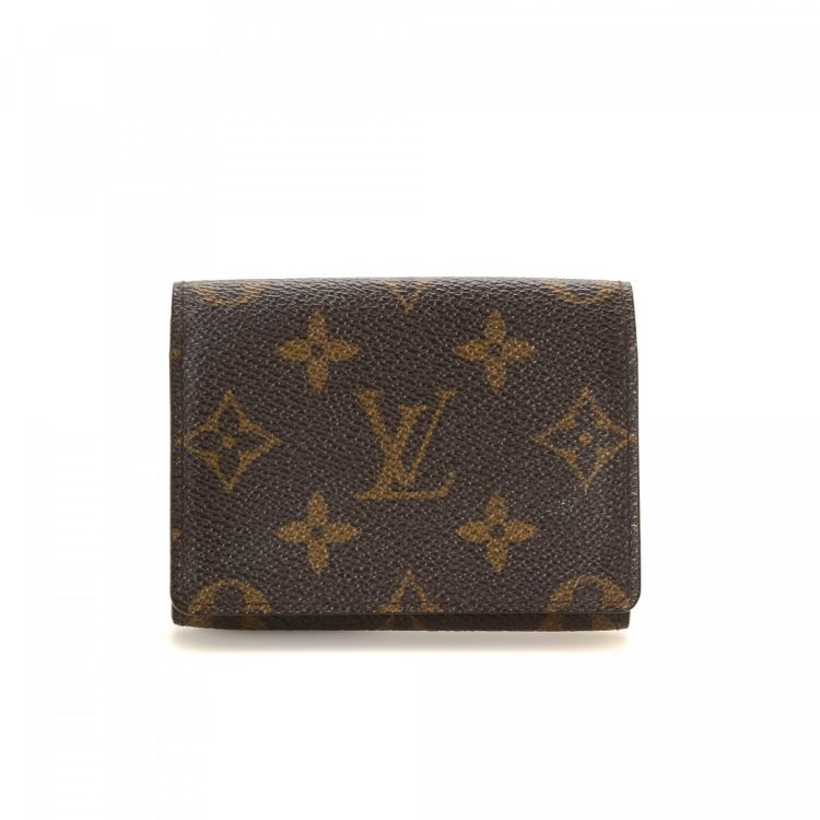 Louis Vuitton Business Card Holder Monogram Coated Canvas Lxrandco