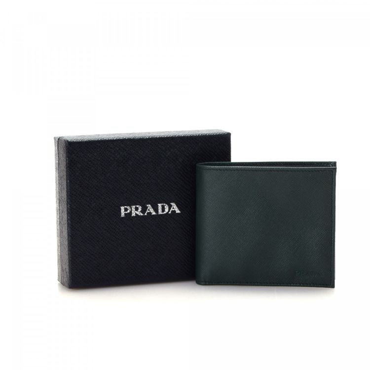 Prada saffiano compact wallet saffiano leather lxrandco pre lxrandco guarantees the authenticity of this vintage prada compact wallet this stylish card case in dark green is made in saffiano leather colourmoves