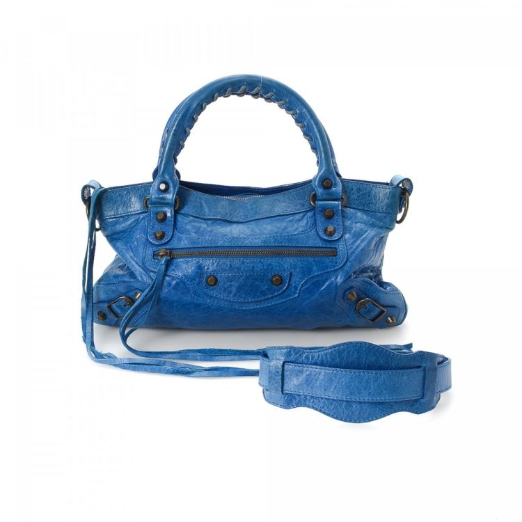 3bfb6a7737f LXRandCo guarantees the authenticity of this vintage Balenciaga First  handbag. This classic purse was crafted in balenciaga chevre leather in  blue.