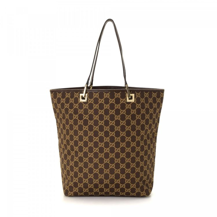 94d1a161b The authenticity of this vintage Gucci Bag tote is guaranteed by LXRandCo.  This chic bag was crafted in gg canvas in brown. Due to the vintage nature  of ...