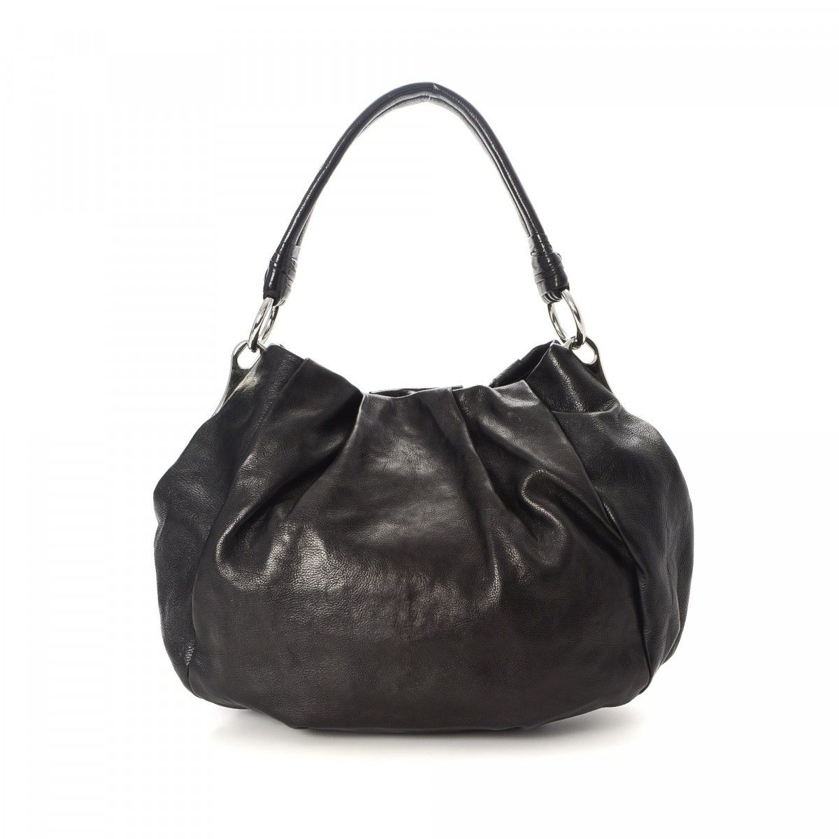 fa9a9474e16e3f Cervo Hobo Handbag. Prada Br5096 Vitello Phenix Leather Hobo Bag Black