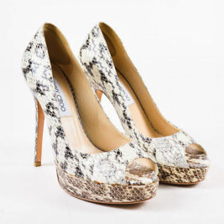 7aef844bd8 LXRandCo guarantees these are authentic vintage Jimmy Choo Cream Charcoal  Gray Snakeskin Platform Peep Toe Pumps SZ 37 shoes. Exquisite shoes.