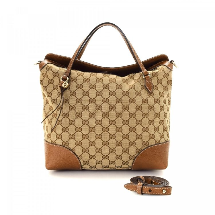 b8423020ffd The authenticity of this vintage Gucci Two Way Bag handbag is guaranteed by  LXRandCo. Crafted in gg canvas