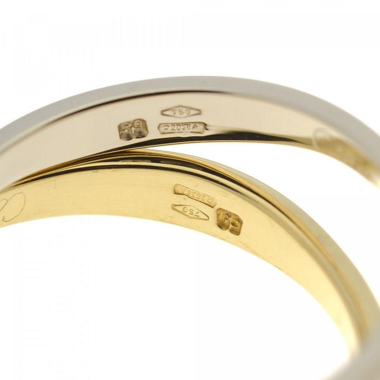 this is an authentic vintage cartier double stack wave bands us 8 5 fr 59 ring crafted in 18k gold this elegant ring comes in beautiful two tone