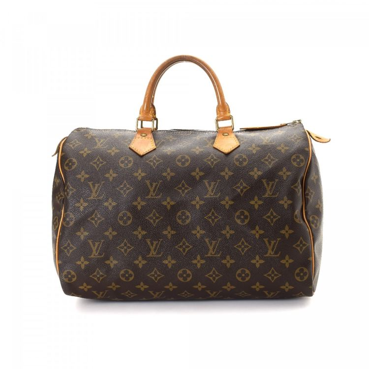 702648dcd1d0 The authenticity of this vintage Louis Vuitton Speedy 35 handbag is  guaranteed by LXRandCo. This stylish pocketbook in brown is made in monogram  coated ...