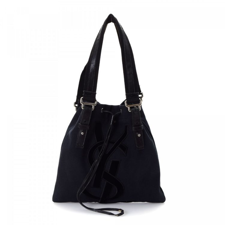 a82c2778f934 LXRandCo guarantees the authenticity of this vintage Yves Saint Laurent  Kahala Bag tote. This refined work bag in navy is made of canvas.