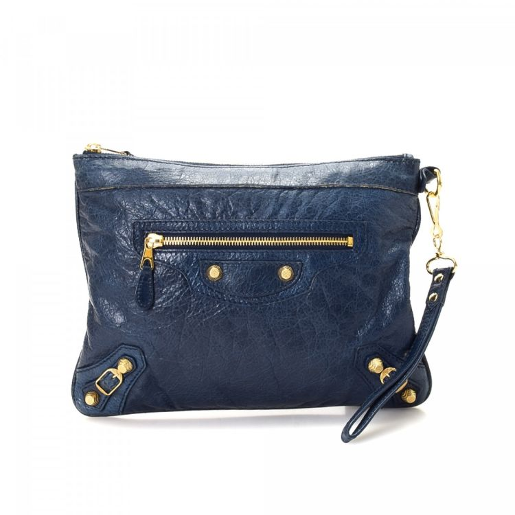 796b135a17d0d The authenticity of this vintage Balenciaga clutch is guaranteed by LXRandCo.  This practical flap clutch was crafted in leather in beautiful blue.
