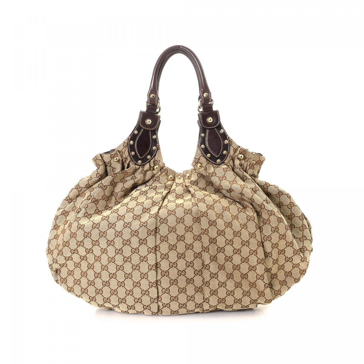 bff857577b59 Gucci GG Canvas Pelham Studded Hobo GG Canvas - LXRandCo - Pre-Owned ...