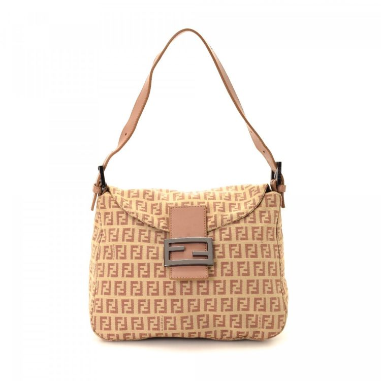 ab6b7d135 The authenticity of this vintage Fendi shoulder bag is guaranteed by  LXRandCo. This stylish purse was crafted in zucchino canvas in beautiful  pale pink.