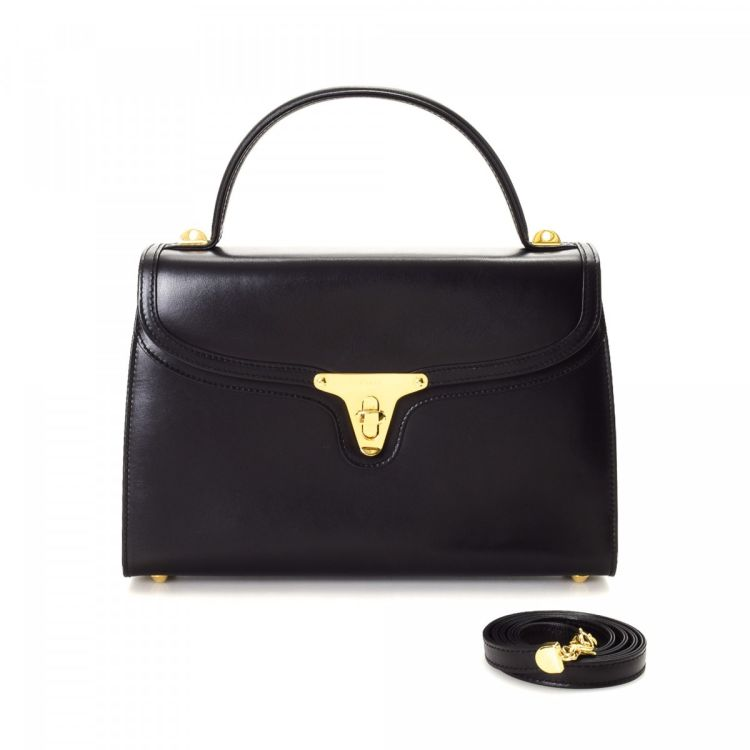 4517c9785e5f LXRandCo guarantees the authenticity of this vintage Bally Top Handle Two  Way Bag handbag. This sophisticated purse comes in beautiful black leather.