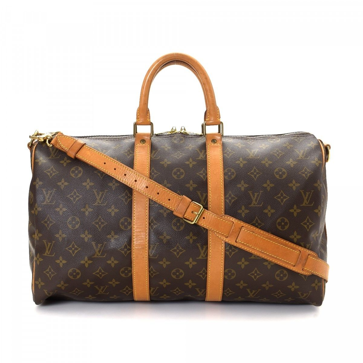 louis vuitton 45 keepall. louis vuitton keepall 45 bandouliere monogram coated canvas - lxrandco pre-owned luxury vintage