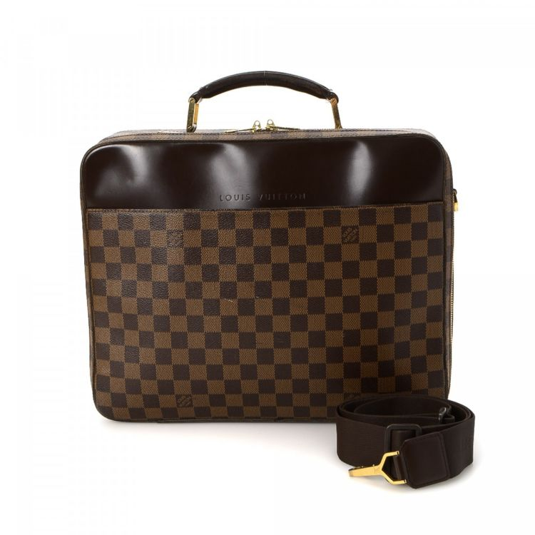 ... Louis Vuitton Porte Ordinateur Sabana Computer Case briefcase. This  practical travel briefcase was crafted in damier ebene coated canvas in  brown. 7827ce12763ba