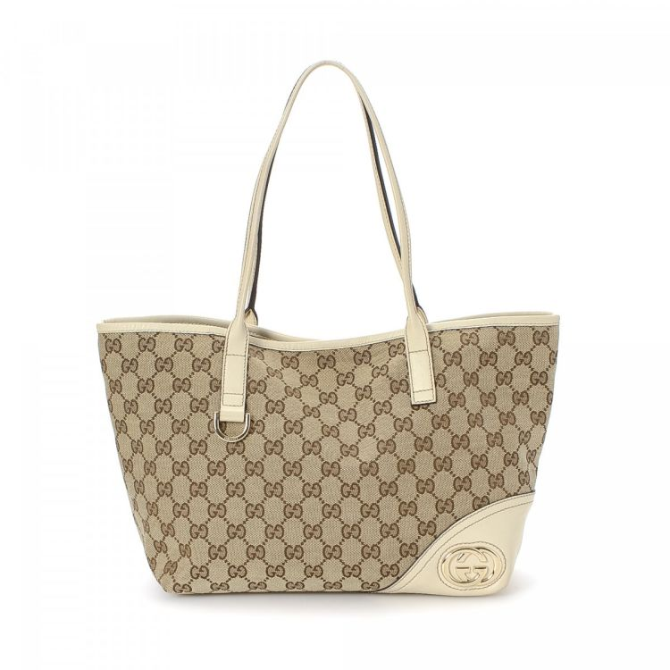 e4baf66cdcef LXRandCo guarantees this is an authentic vintage Gucci GG Canvas New Britt  tote. This lovely bag was crafted in gg canvas in beautiful beige.