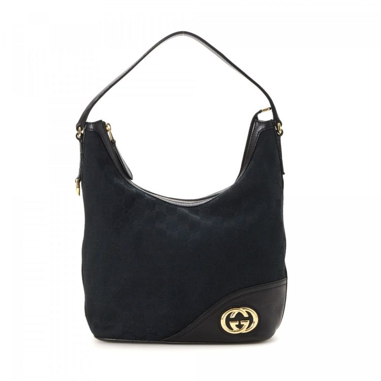 3748747dbf8f LXRandCo guarantees the authenticity of this vintage Gucci GG Canvas New  Britt Hobo Bag shoulder bag. This classic pocketbook was crafted in gg  canvas in ...