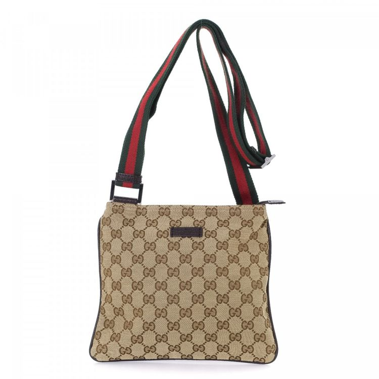 5b1a05916f9e14 LXRandCo guarantees the authenticity of this vintage Gucci Web Crossbody Bag  messenger & crossbody bag. Crafted in gg canvas, this lovely saddle bag  comes ...