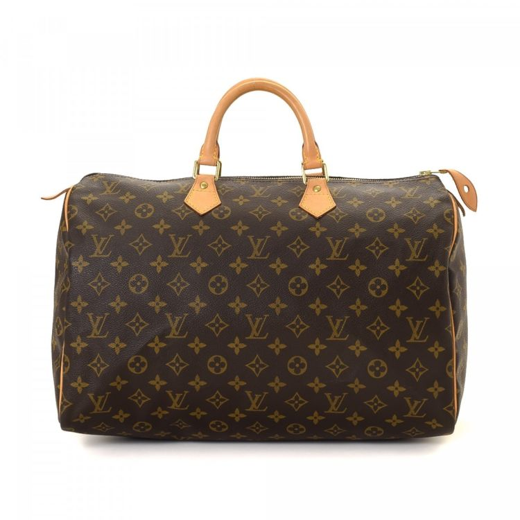 cf9dabb1a6d7 ... of this vintage Louis Vuitton Speedy 40 handbag is guaranteed by  LXRandCo. This everyday handbag in beautiful brown is made in monogram  coated canvas.