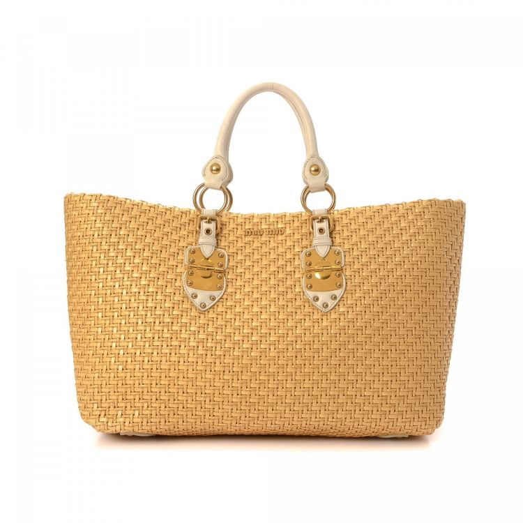 8cd80d2aa74 LXRandCo guarantees the authenticity of this vintage Miu Miu Raffia Bag tote.  This everyday tote was crafted in leather in beautiful beige.