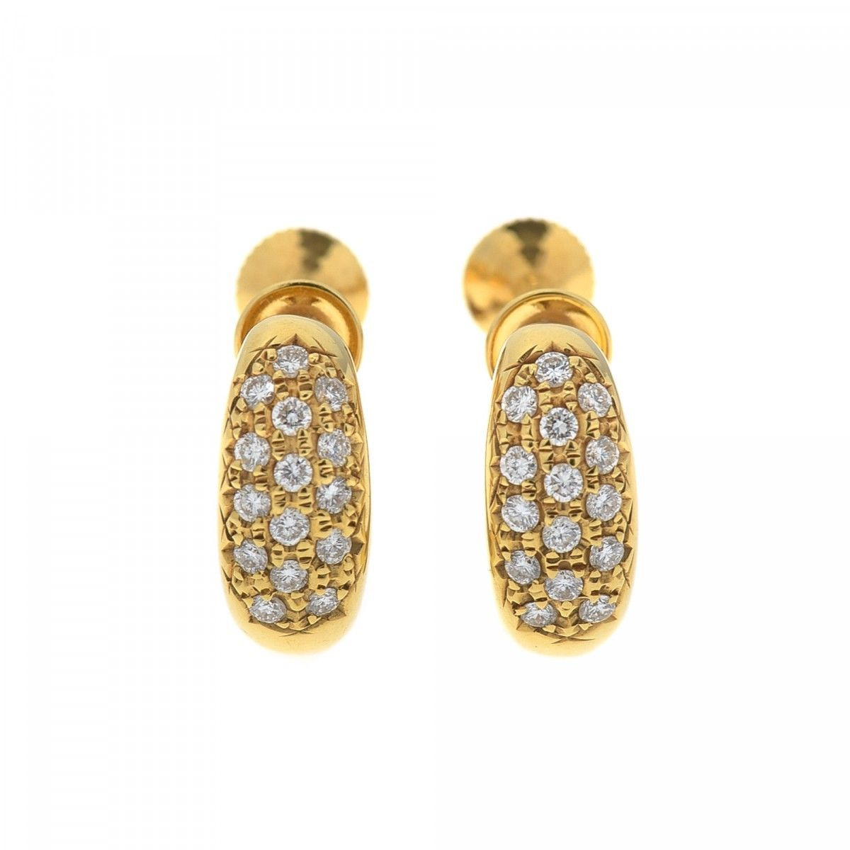 Estate Jewelry Diamond Earrings 18k Gold And Lxrandco Pre Owned Luxury Vintage