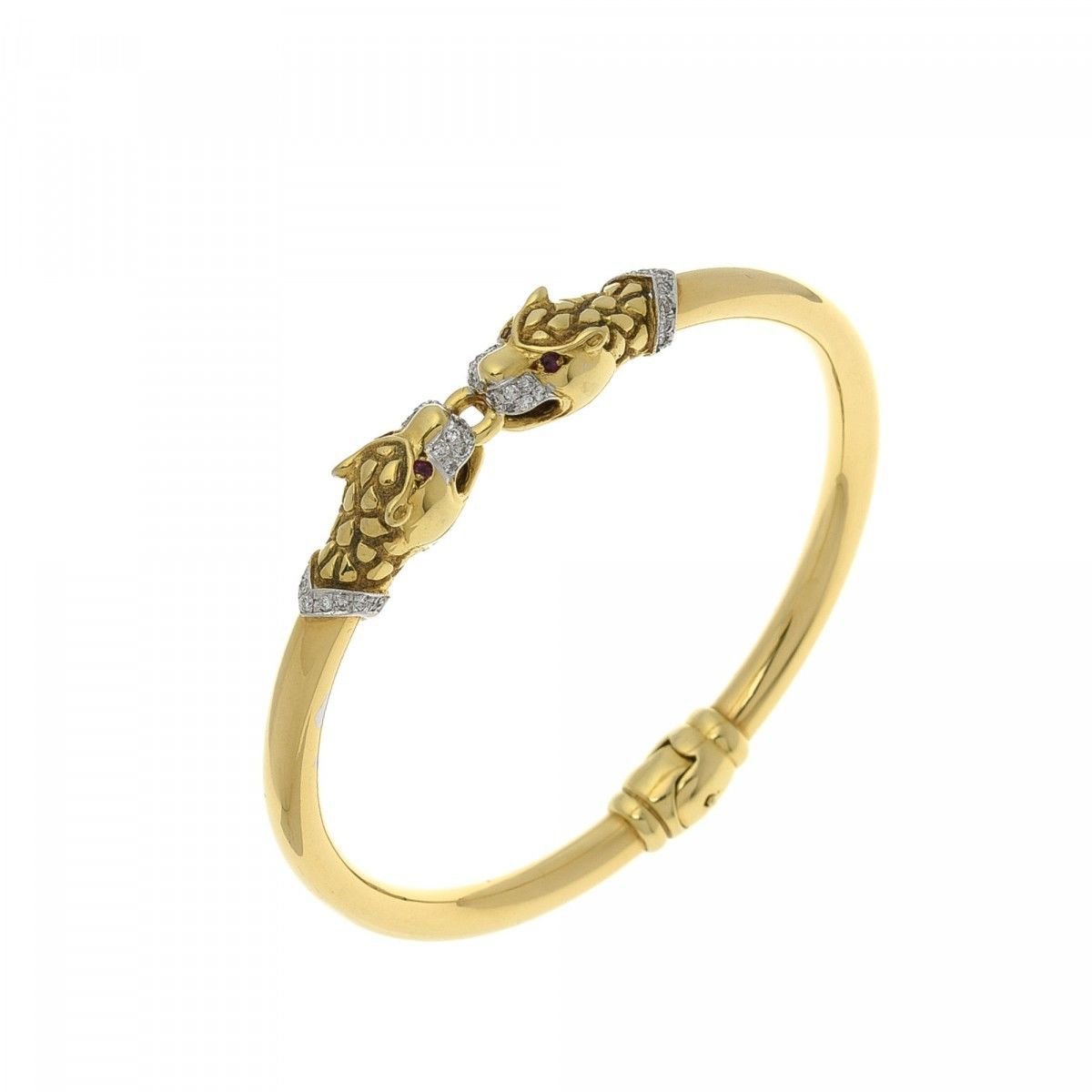 free today jewelry panther bracelet watches yellow shipping product overstock gold fremada