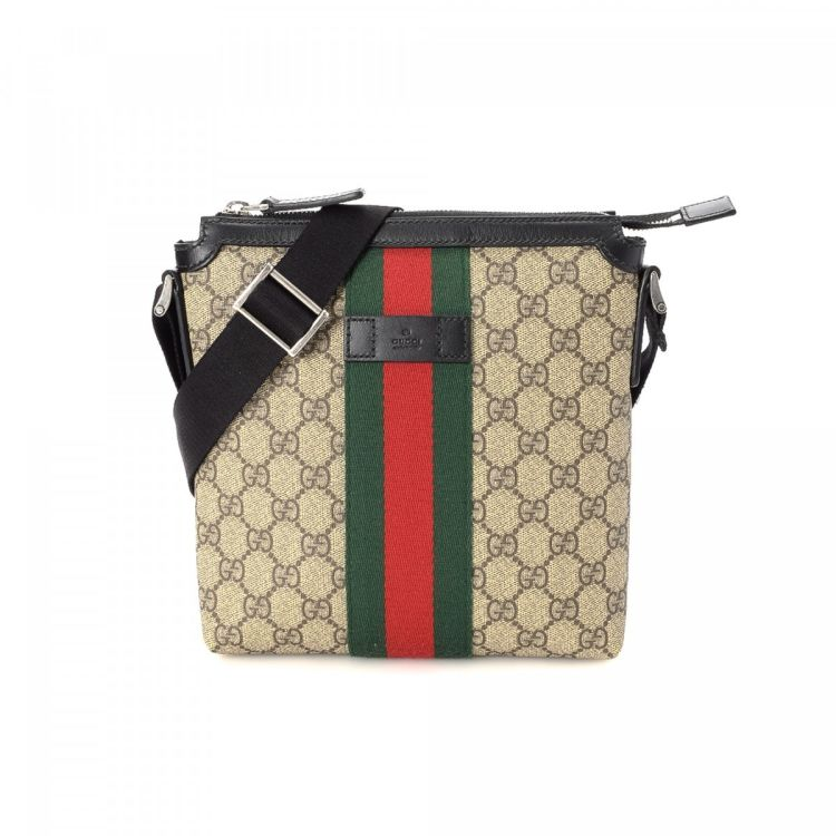c4ce4b45dccf4d The authenticity of this vintage Gucci Web Crossbody Bag shoulder bag is  guaranteed by LXRandCo. This luxurious purse in beige is made in gg supreme  coated ...