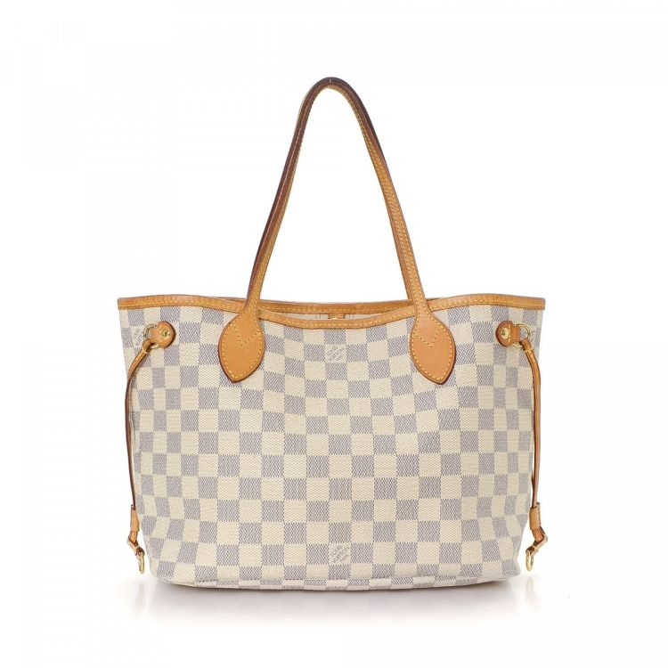 2a94128ff55 LXRandCo guarantees the authenticity of this vintage Louis Vuitton  Neverfull PM tote. Crafted in damier azur coated canvas, this signature  large handbag ...