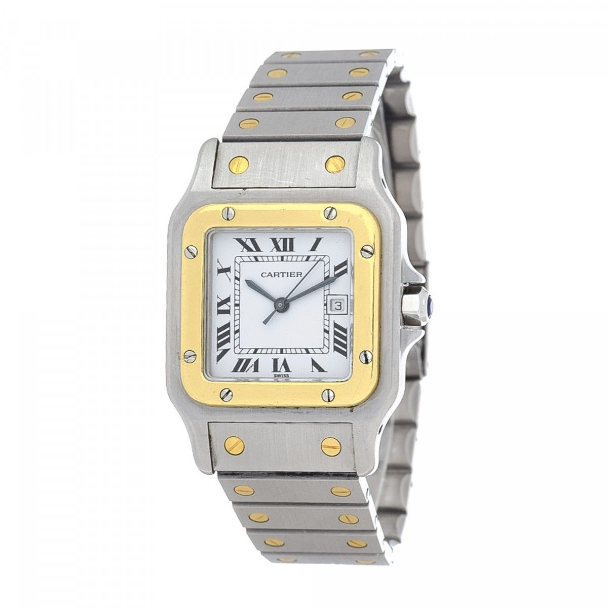 en and us cartier vintage tone steel galbee luxury owned gold watches large lxrandco silver pre santos stainless