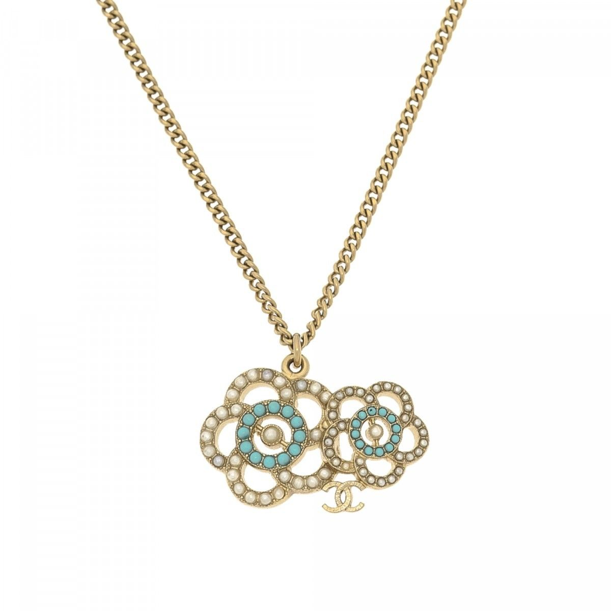 Chanel Camellia Faux Pearl Necklace 60cm Metal and Enamel ...